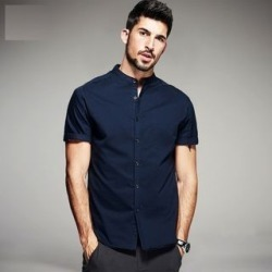 Stand-Collar Short-Sleeved Casual Shirt