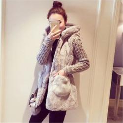 Knit-Sleeve Hooded Furry Long Jacket