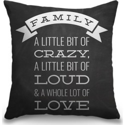 Canvas on Demand Indoor Burlap Throw Pillow 16 x 16 entitled Family Quotes - Family Description