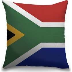 Canvas on Demand Indoor Burlap Throw Pillow 16 x 16 entitled South Africa Flag