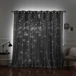 Aurora Home Star Punch Tulle Overlay Blackout Curtain Panel Pair found on Bargain Bro from  for $87.99