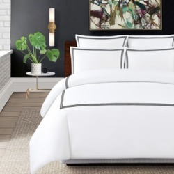Echelon Home Three Line Hotel Collection Cotton Sateen 3-piece Duvet Cover Set found on Bargain Bro from  for $84.49