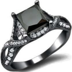 Black Gold 2 2/5ct TDW Black Diamond Princess Engagement Ring found on Bargain Bro from  for $2525.99