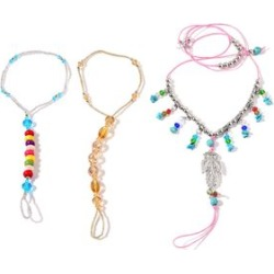 Multi Color Howlite, Simulated Pearl, Glass Silvertone Set of 3 Barefoot Anklets and Toe Ring (Stretchable) TGW 55.00 cts.
