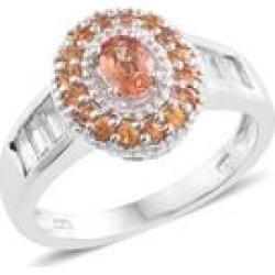 Enhance Orange Sapphire, Orange Sapphire, White Topaz Platinum Over Sterling Silver Ring (Size 5.0) TGW 2.21 cts.