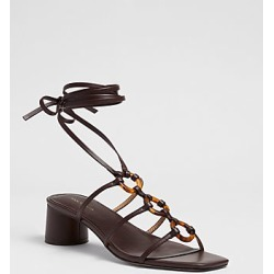 Ann Taylor Ruby Tortoiseshell Print Ring Leather Wrap Block Heel Sandals found on Bargain Bro India from anntaylor.com for $138.00