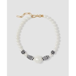 Ann Taylor Striped Pearlized Statement Necklace found on Bargain Bro from anntaylor.com for USD $56.62