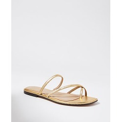 Ann Taylor Everly Metallic Leather Braided Cross Strap Flat Slide Sandals found on Bargain Bro India from anntaylor.com for $118.00