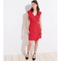 Side Button Wrap Dress | LOFT found on Bargain Bro from  for $19.88