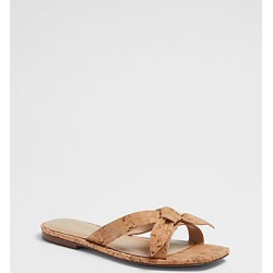 Ann Taylor Ava Cork Bow Flat Slide Sandals found on Bargain Bro India from anntaylor.com for $118.00