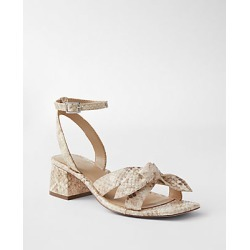 Ann Taylor Abigail Snake Print Bow Leather Block Heel Sandals found on Bargain Bro India from anntaylor.com for $128.00