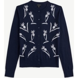 Ann Taylor Pineapple Embroidered Cardigan