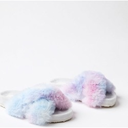 Loft Rainbow Faux Fur Indoor & Outdoor Slippers found on Bargain Bro Philippines from loft.com for $39.50