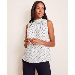 Ann Taylor Petite Dot Ruffle Tie Back Shell Size L Pale Aqua Women's