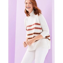 Loft Striped Turtleneck Poncho Sweater