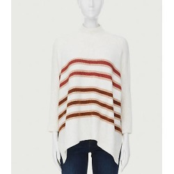 Loft Petite Striped Turtleneck Poncho Sweater