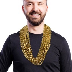 """Gold Bead Beer Mug 33"""" Necklaces by Windy City Novelties"""