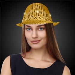 LED Gold Sequin Fedora Hat by Windy City Novelties