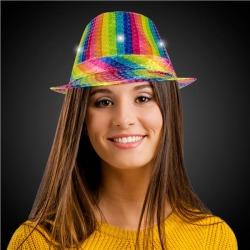 LED Rainbow Sequin Fedora Hat by Windy City Novelties