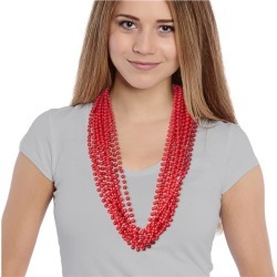 """Red 33"""" 7mm Bead Necklaces by Windy City Novelties"""