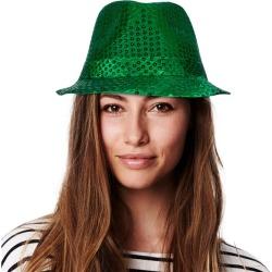 Green Sequin Fedora Hat by Windy City Novelties