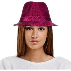 Pink Sequin Fedora Hat by Windy City Novelties