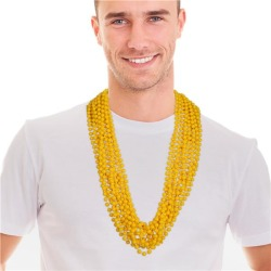 """Yellow 33"""" 7mm Bead Necklaces by Windy City Novelties"""