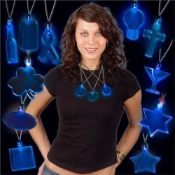 Blue LED and Light - Up Pendant Necklaces by Windy City Novelties