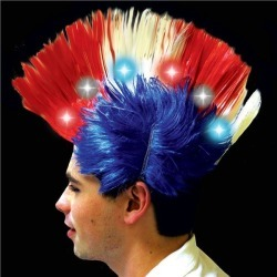 Patriotic LED Light-Up Mohawk Wig by Windy City Novelties