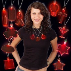 Red LED and Light - Up Pendant Necklaces by Windy City Novelties