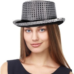 Silver Sequin Top Hat by Windy City Novelties