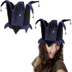 Purple & Black Velvet Jester Hat by Windy City Novelties
