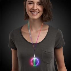 LED Peace Sign Necklaces by Windy City Novelties