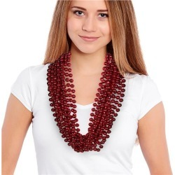 """Red 33"""" 12mm Bead Necklaces by Windy City Novelties"""