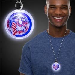 LED 4th of July Pendant Necklace by Windy City Novelties