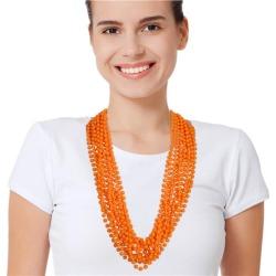 "Orange 33"" 7mm Bead Necklaces by Windy City Novelties"