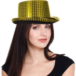 Gold Sequin Top Hat by Windy City Novelties