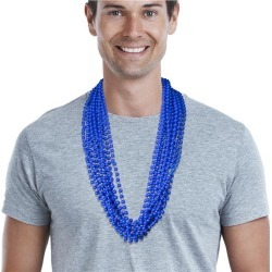 """Blue 33"""" 7mm Bead Necklaces by Windy City Novelties"""