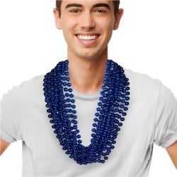 """Blue 33"""" 12mm Bead Necklaces by Windy City Novelties"""