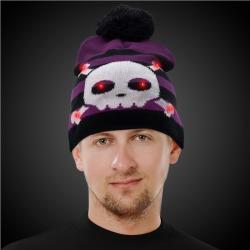 LED Crossbones Knit Hat Beanie by Windy City Novelties