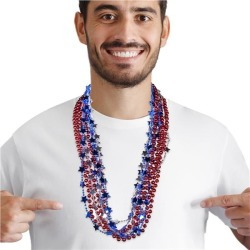 """Red, Blue & Silver 33"""" Bead Necklaces by Windy City Novelties"""