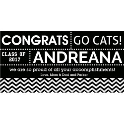 Black & White Custom Graduation Banner by Windy City Novelties