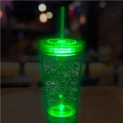 LED 16 oz Tumbler with Green Lid & Straw by Windy City Novelties found on Bargain Bro Philippines from Windy City Novelties for $4.95