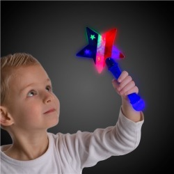 LED Flashing Star Prism Wand by Windy City Novelties