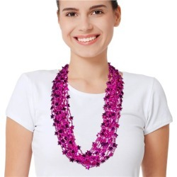 """Pink Star 33"""" Bead Necklaces by Windy City Novelties"""