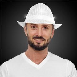 LED White Sequin Fedora Hat by Windy City Novelties