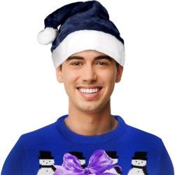 Blue Santa Plush Hat by Windy City Novelties