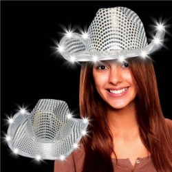 LED Silver Sequin Cowboy Hat by Windy City Novelties