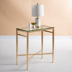 Safavieh Viggo Chair Accent Table, Gold/Glass found on Bargain Bro from Ashley Furniture for USD $161.11