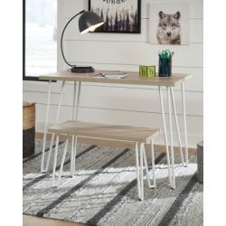 Blariden Desk with Bench, Brown/White